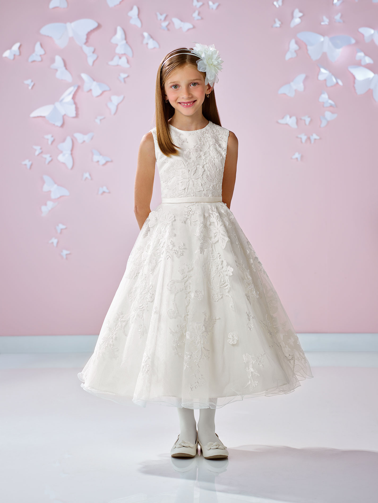 JC IV Joan Calabrese Style Satin and Tulle Dress with Lace A