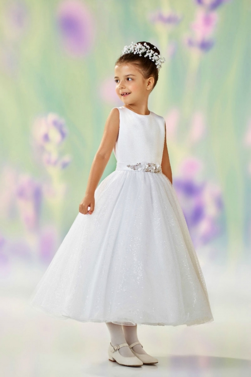 Jc118308 Joan Calabrese Style 118308 White Sleeveless Satin And