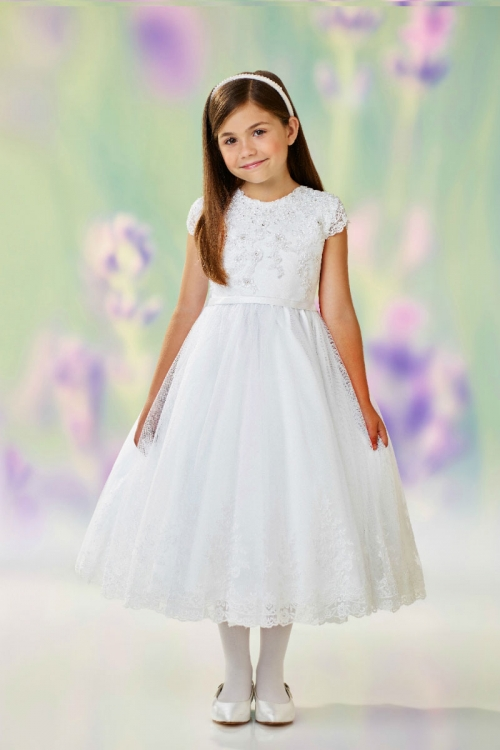 5e2a75bc3 JC 118311 - Joan Calabrese Style 118311 - WHITE Cap Sleeved Lace and ...