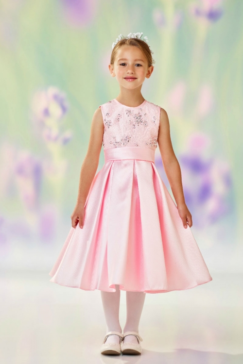 534e1d3d7c6 JC 118313LP - Joan Calabrese Style 118313 - Sleeveless Satin and Lace w-Box  Pleat Skirt Dress in Choice of Color - Sizes 7-16 - Flower Girl Dresses -  Flower ...