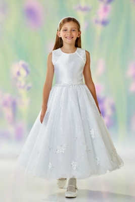 0d42a3c5edbf2 Joan Calabrese Style 118314 - WHITE Sleeveless Sequin and Bead Satin and  Tulle Dress