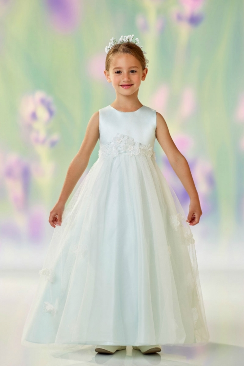 3c941163129 JC 118320MT - Joan Calabrese Style 118320 - Sleeveless Satin -Tulle Dress  with Floral Appliques in Choice of Color - Joan Calabrese - Flower Girl  Dresses ...