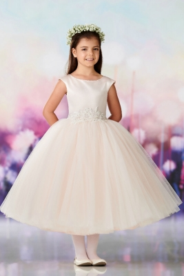 18063a630ff Joan Calabrese Style 119383 - Cap Sleeve Satin Full Princess Gown in Choice  of Color