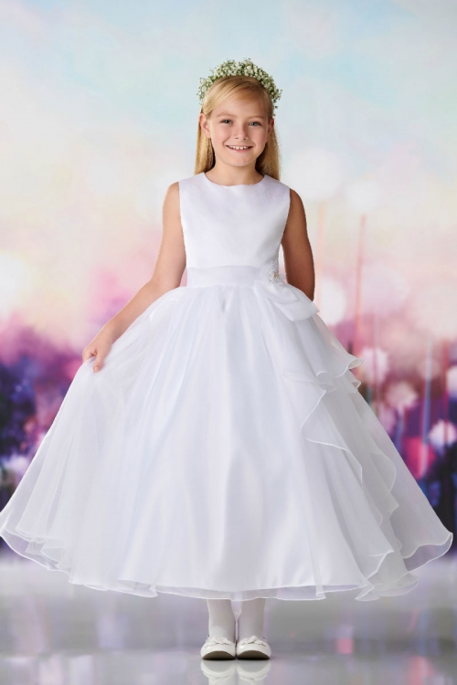 4895d4a9c7d JC 119385 - Joan Calabrese Style 119385 - Satin and Organza Tiered Skirt  Gown Dress in Choice of Color - Designer Communion Dresses - Flower Girl  Dresses ...