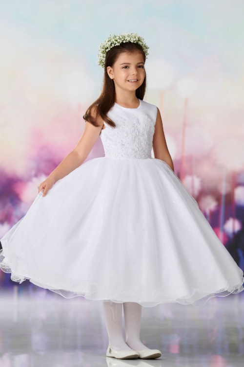 d2265f287f6 JC 119387 - Joan Calabrese Style 119387 - WHITE Satin and Organza Beaded  Gown - Joan Calabrese - Flower Girl Dresses - Flower Girl Dress For Less