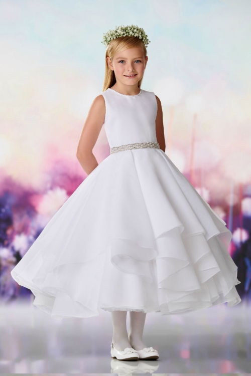 d8afc0e7364 JC 119391W - Joan Calabrese Style 119391 - Sleeveless Satin with Layered  Organza Skirt Gown in Choice of Color - All First Communion Dresses - Flower  Girl ...