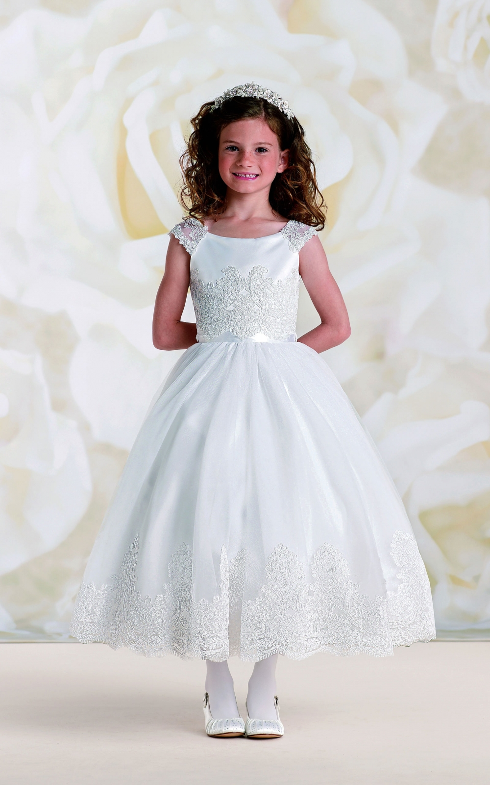 dda2558fa37 JC 19328 - Joan Calabrese Style 19328- Satin and Tulle Off the Shoulder  Dress - All First Communion Dresses - Flower Girl Dresses - Flower Girl  Dress For ...