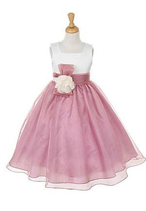 Kk 2058mv Girls Dress Style 2058 Ivory Mauve Sleeveless