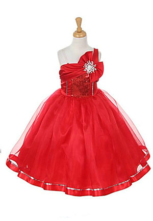 Kk 2061r Flower Girl Dress Style 2061 Red One Shoulder