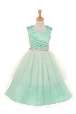S Dress Style 2070 Sleeveless Satin With Shoulder Bows In Choice Of Color