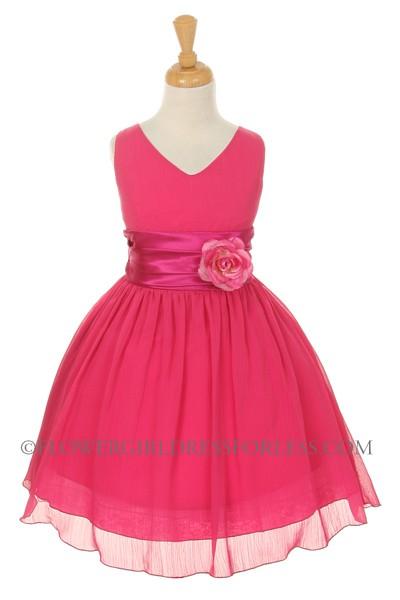 58821efcd4f KK 5720FUS - Girls Dress Style 5720 - FUCHSIA- Crepe Dress with ...