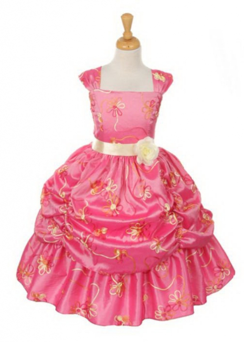 25d8c5f12d6 Girls Dress Style 6350- CORAL Embroidered Taffeta Dress with Tufted Skirt