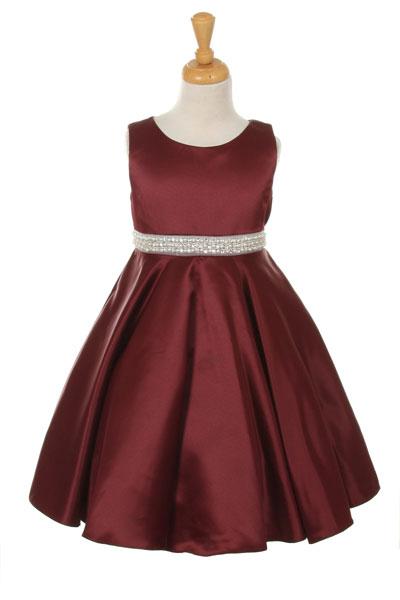 Kk 6352bur Girls Dress Style 6352 Burgundy Sleeveless