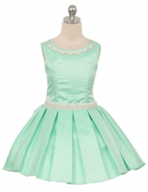 091187cd076 Girls Dress Style 6375 - Satin Party Dress with Matching Necklace in Choice  of Color