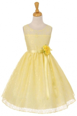 Yellows flower girl dresses flower girl dress for less girls dress style 6378 sleeveless lace dress with satin sash and flower in choice of mightylinksfo