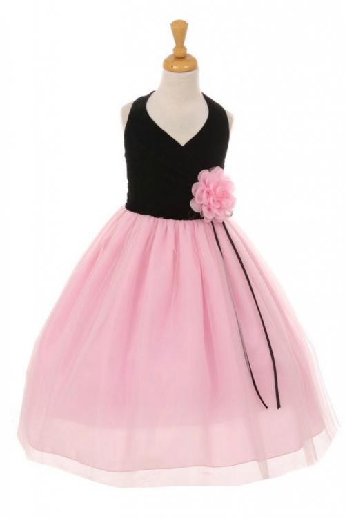 Kk6418bkp Girls Dress Style 6418 Halter Style Velvet And Tulle