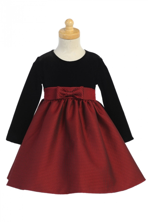 Lc525 Girls Dress Style C525 Red Long Sleeve Stretch Velvet And