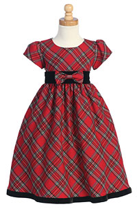 Girls Dress Style C813 - Short Sleeved Tartan Plaid Dress In Choice