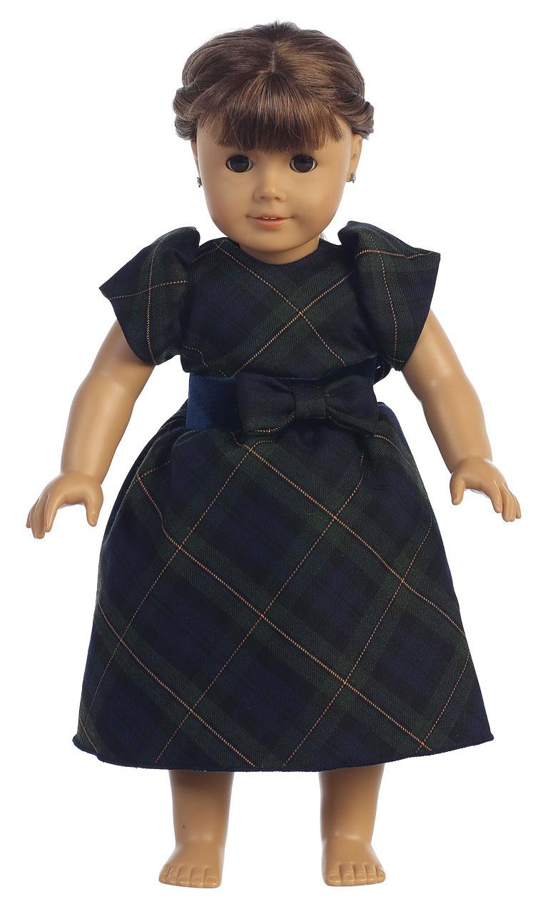 Doll Dress Style C814_doll - Short Sleeved Tartan Plaid Doll Dress