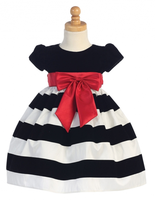 Lc925w girls dress style c925 short sleeved velvet dress with girls dress style c925 short sleeved velvet dress with striped skirt in choice of color mightylinksfo