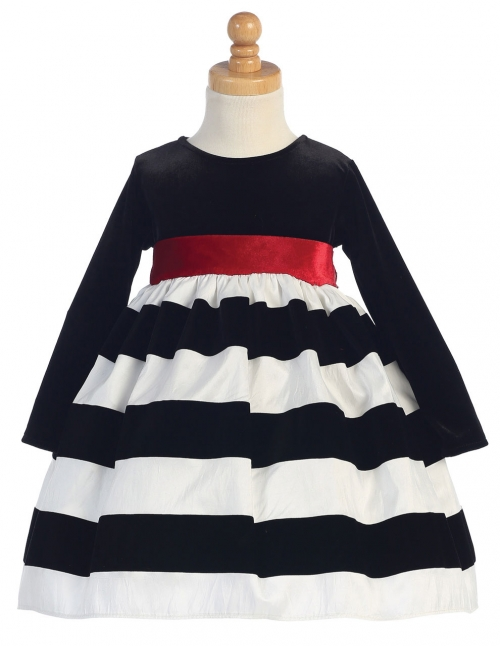 Lc949w girls dress style c949 long sleeved velvet dress with girls dress style c949 long sleeved velvet dress with striped skirt in choice of color mightylinksfo