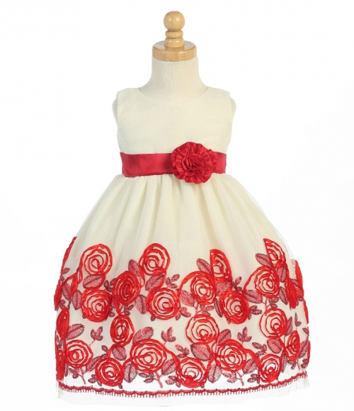 S Dress Style C988 Sleeveless Rose Inspired Satin Ribbon In Choice Of Color