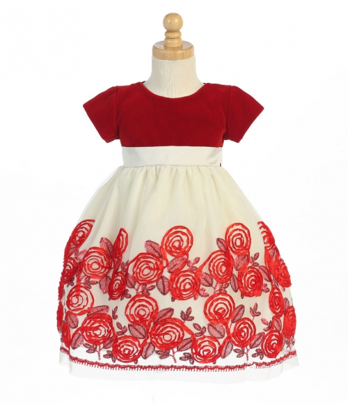 S Dress Style C989 Short Sleeved Rose Inspired Satin Ribbon In Choice Of Color