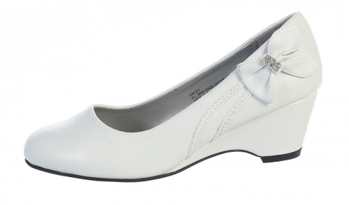 Lginaw14 girls shoe style gina wedge heel shoes with bow girls shoe style gina wedge heel shoes with bow choice of white or ivory mightylinksfo