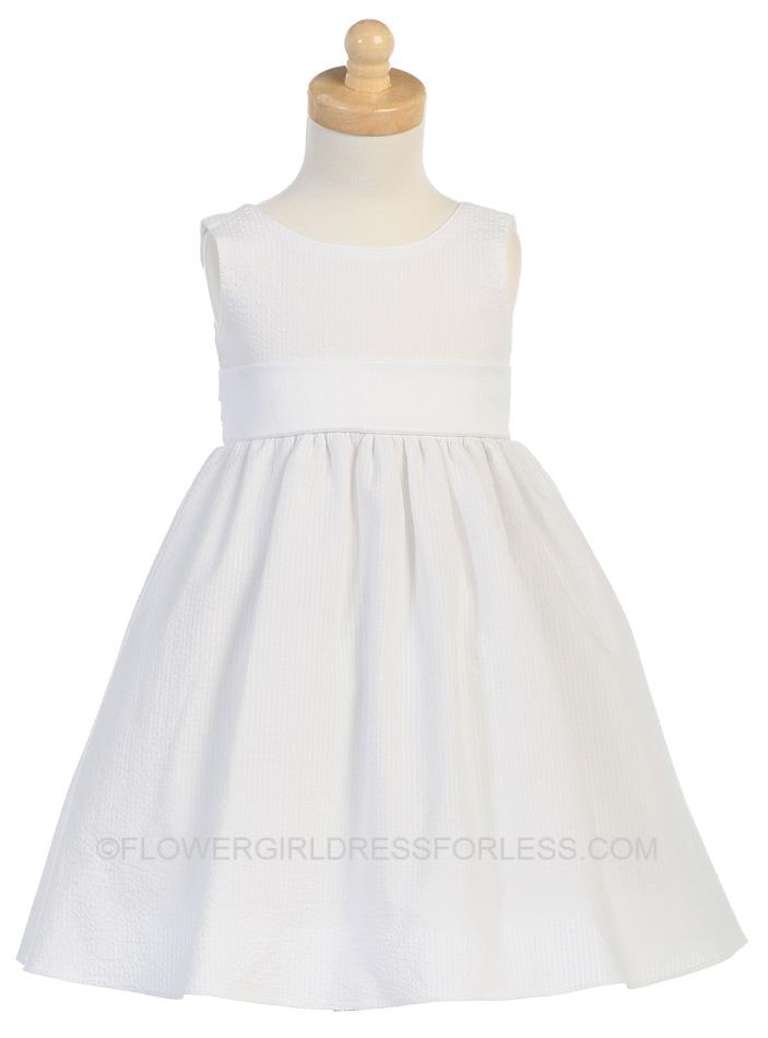 L_M642G - Flower Girl Dress Style M642- Striped Cotton Seersucker ...