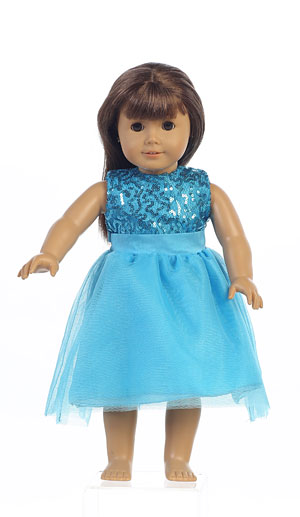 Doll Dress Style M692_doll- Aqua Sequin And Tulle Doll Dress