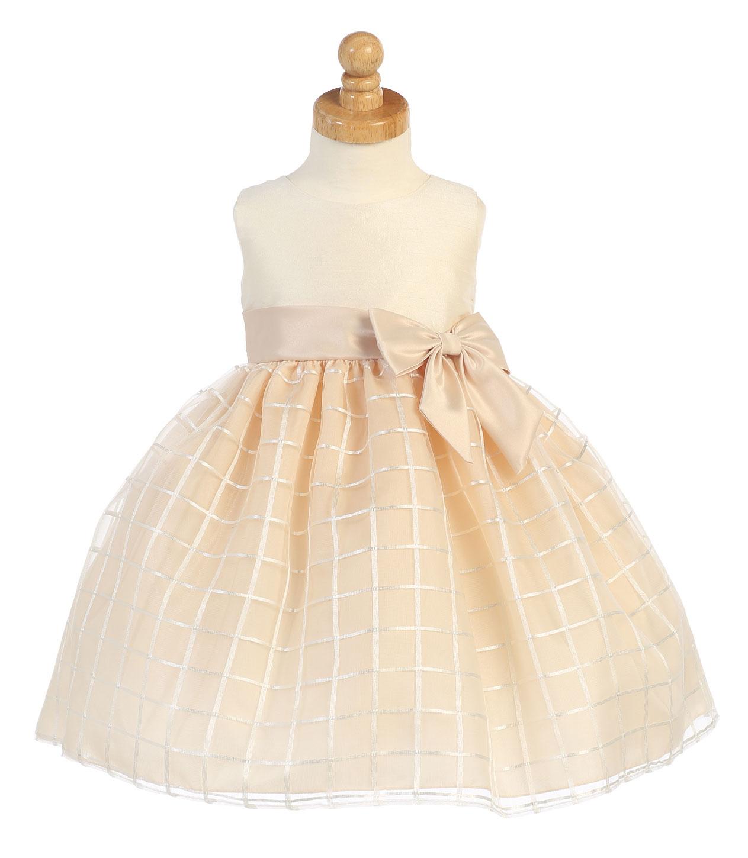 L M702CH Girls Dress Style M702 Sleeveless Organza Dress with Lattice Ski