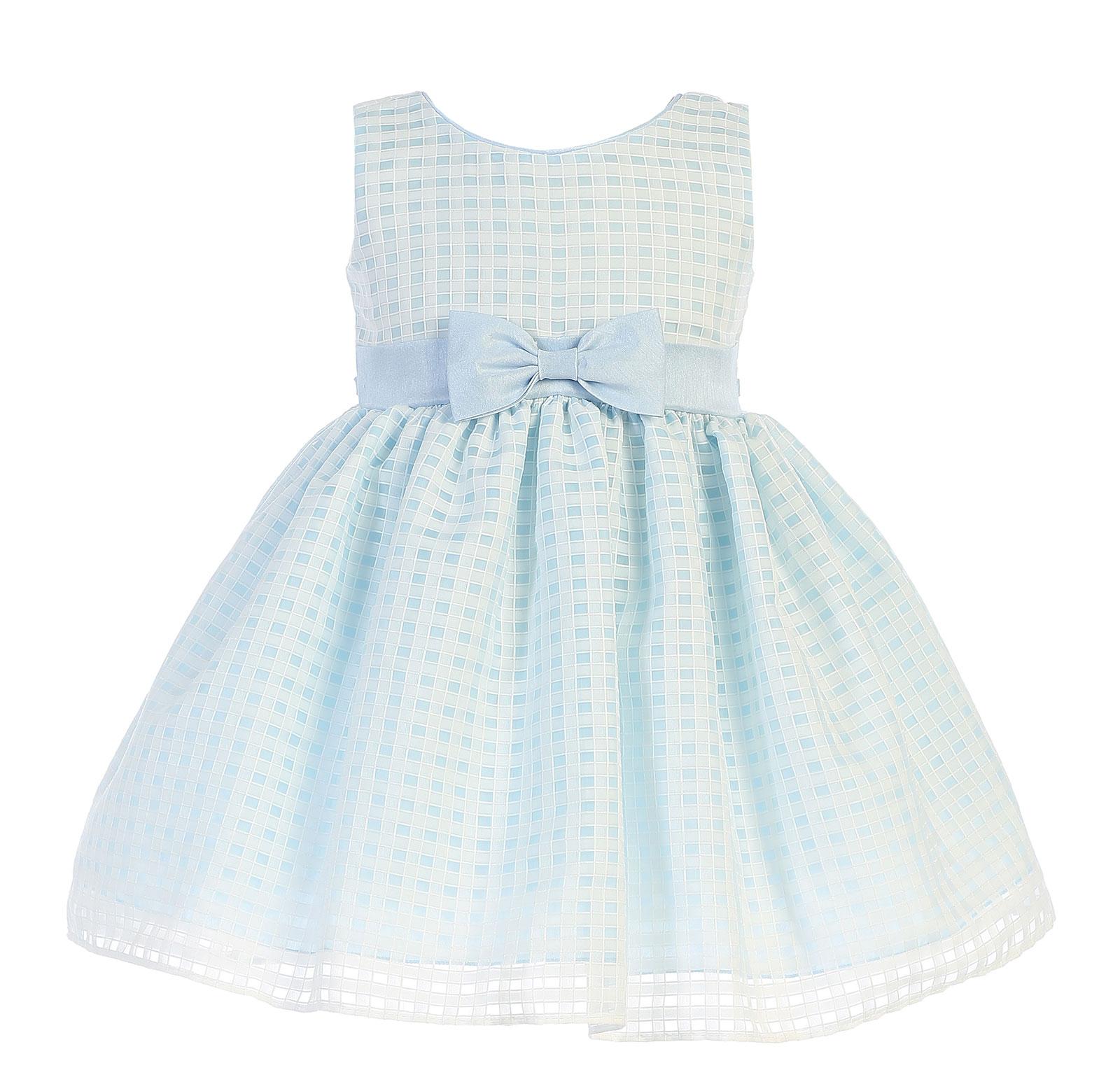 L M732LB Girls Dress Style M732 Checkered Organza Burnout Dress in Choice