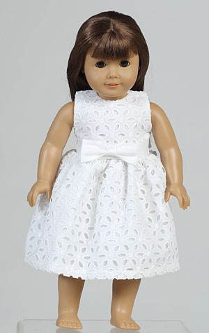 Doll Dress Style Sp120_doll- White Embroidered Cotton Doll Dress