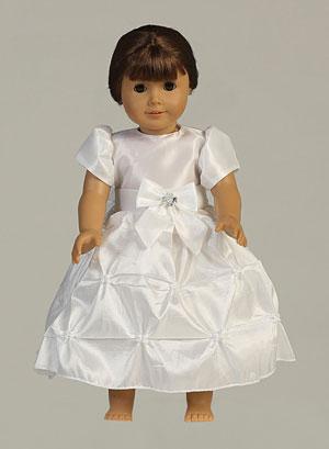 Doll Dress Style Sp122_doll- White Gathered Taffeta Doll Dress