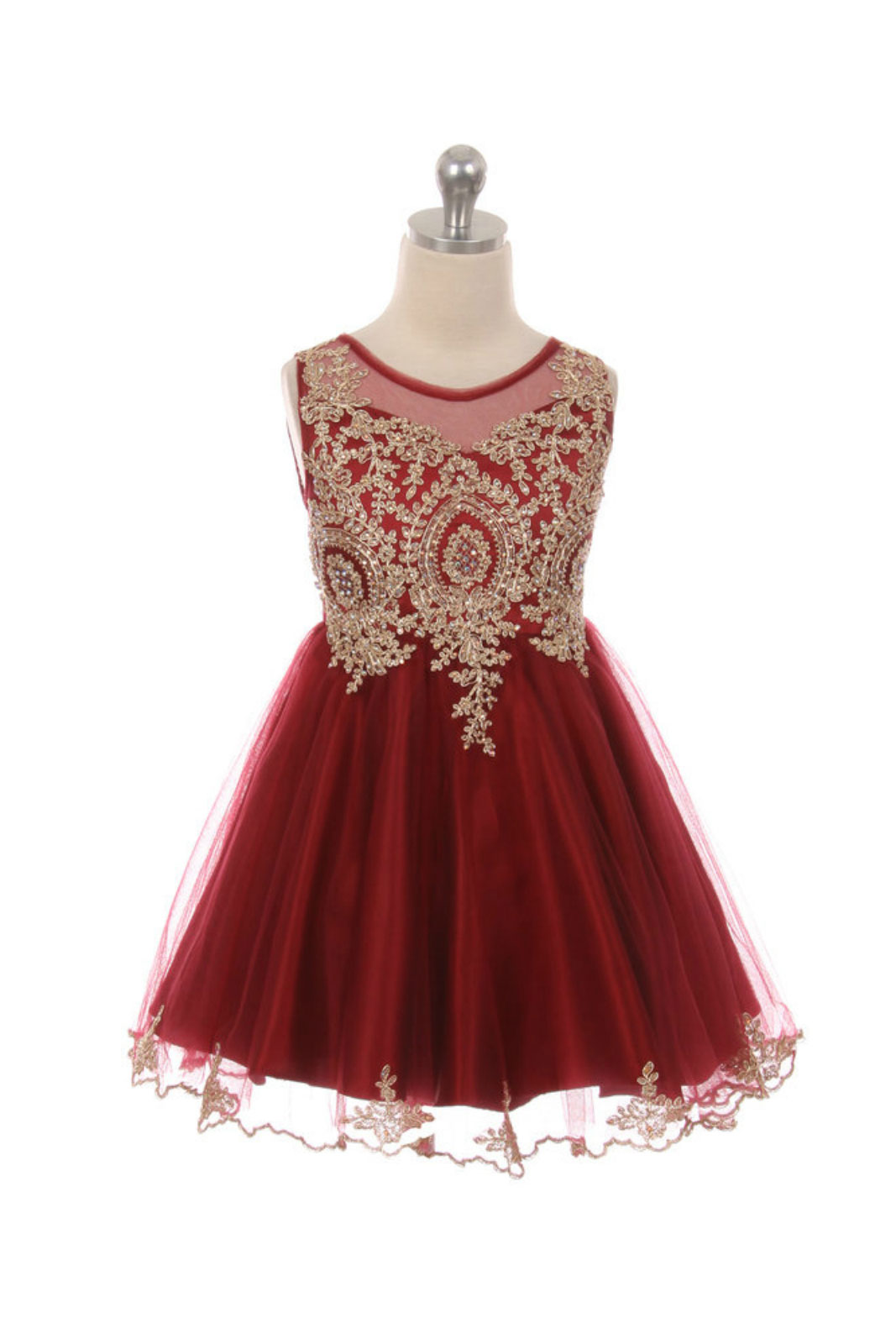 MB_1049BUR - Girls Dress Style 1049 - BURGUNDY with Gold Accents ...