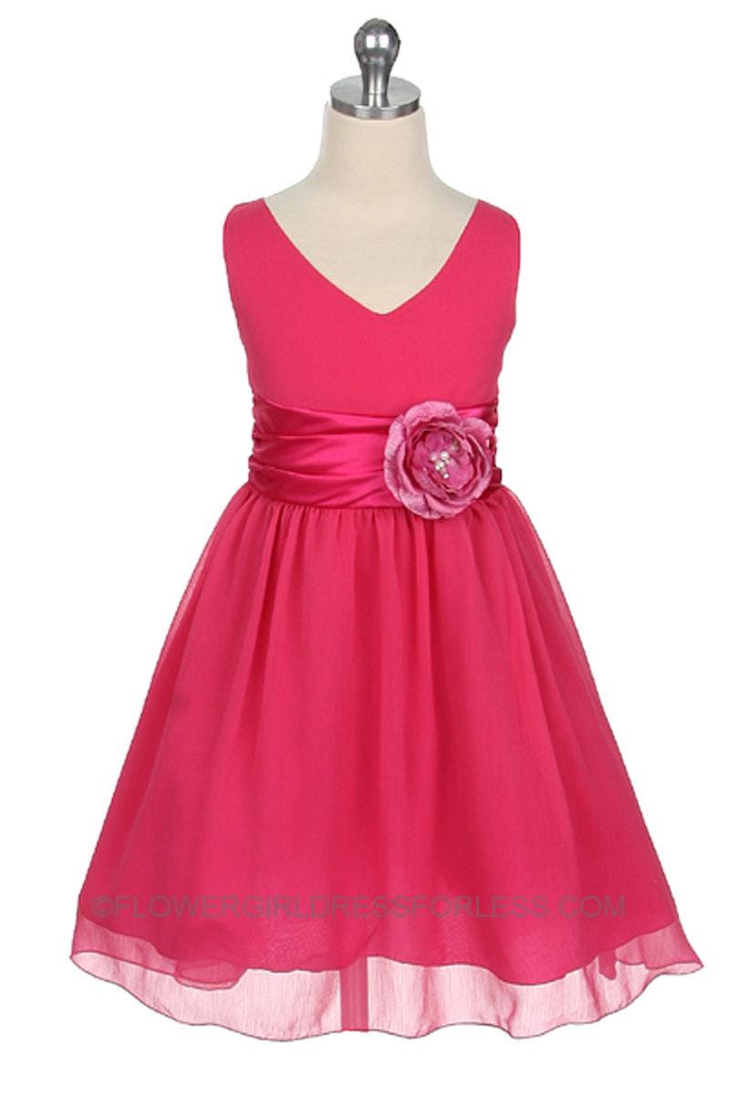 Flower Girl Dresses With Hot Pink Sash