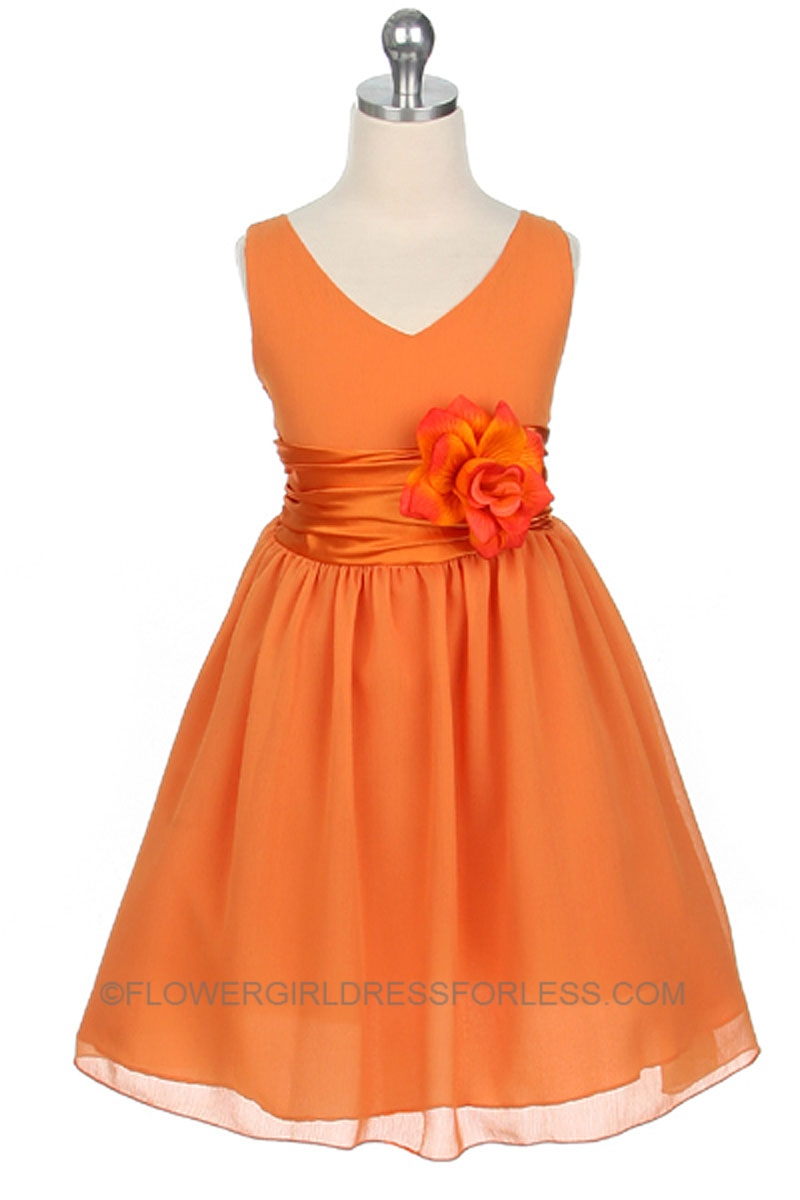 MB_1082OR - Flower Girl Dress Style 1082- Orange Crepe Dress with ...