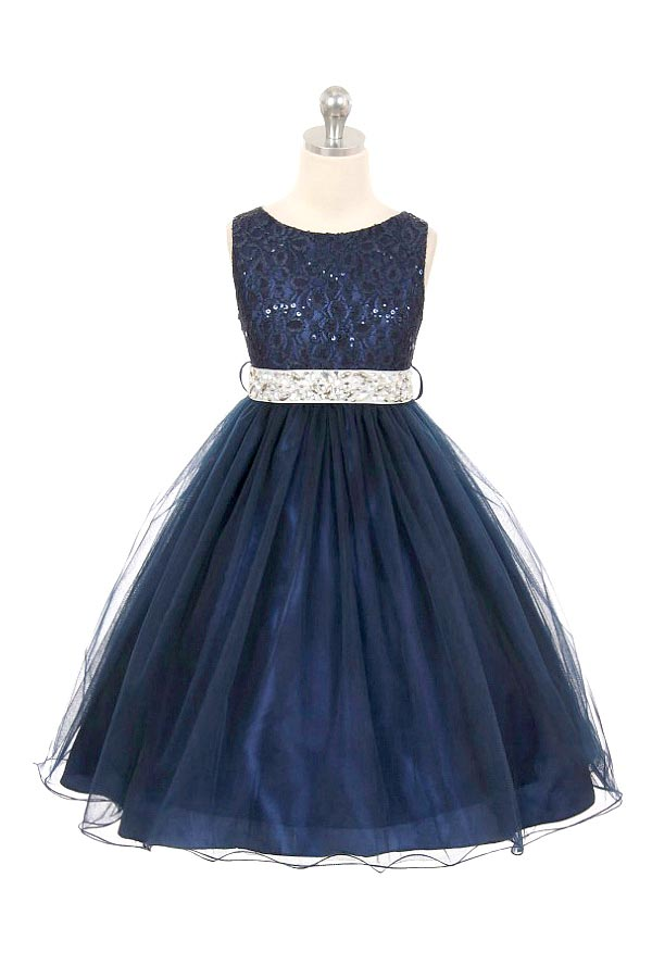 Mb 340nv Girls Dress Style 340 Navy Sparkly Tulle