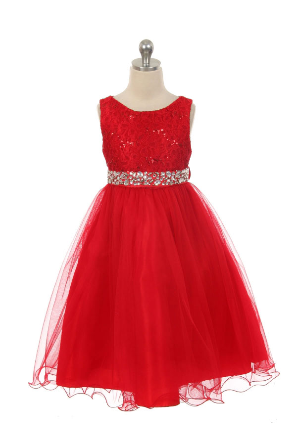 MB340R Girls Dress Style 340 RED Sparkly Tulle Dress