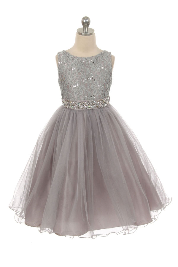 Mb 340sv Girls Dress Style 340 Silver Sparkly Tulle