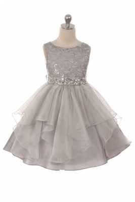 Silver grays flower girl dresses flower girl dress for less girls dress style 357 silver sparkly embroidered organza dress with rhinestone waist mightylinksfo
