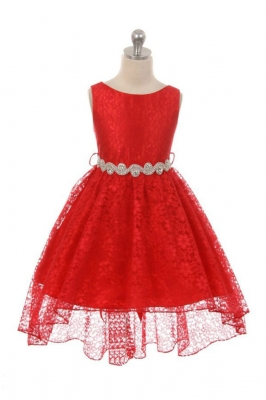 Red flower girl dresses flower girl dress for less girls dress style 360s red high low lace dress with matching rhinestone sash mightylinksfo