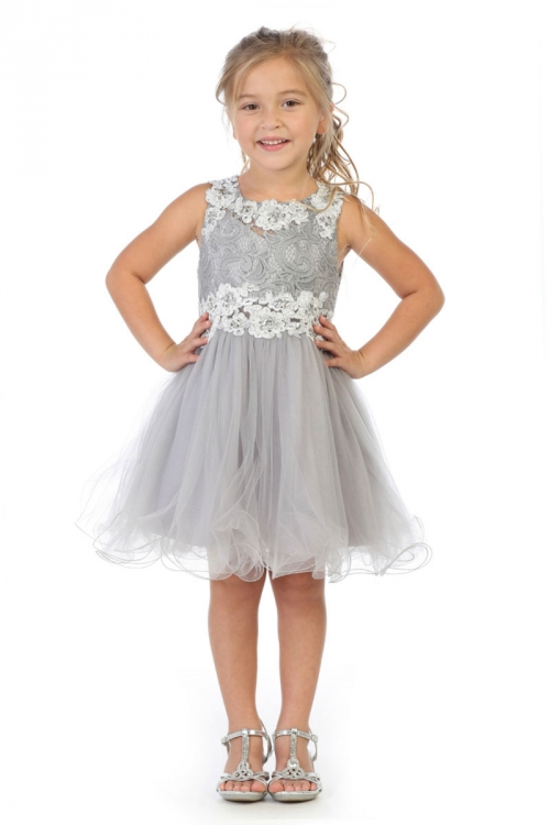 c352d4991f55 MB JK52SV - Girls Dress Style JK52 - SILVER Floral Lace and Tulle with  Sequins Short Dress - Holiday Dresses - Flower Girl Dresses - Flower Girl  Dress For ...