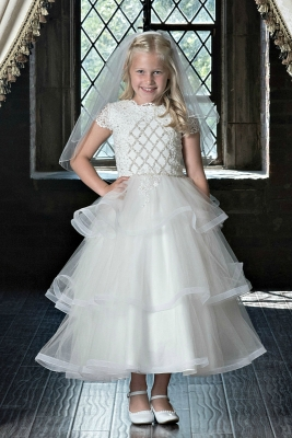 44cc130f6d6 Couture-Designer Girls Dress Style 1820 - Short Sleeved Beaded Gown in  Choice of Color