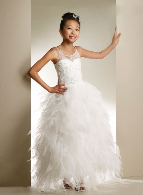 20fb75fe653 Macis Couture-Designer Girls Dress Style 1852- Spaghetti Strap Beaded Dress  with Organza Skirt