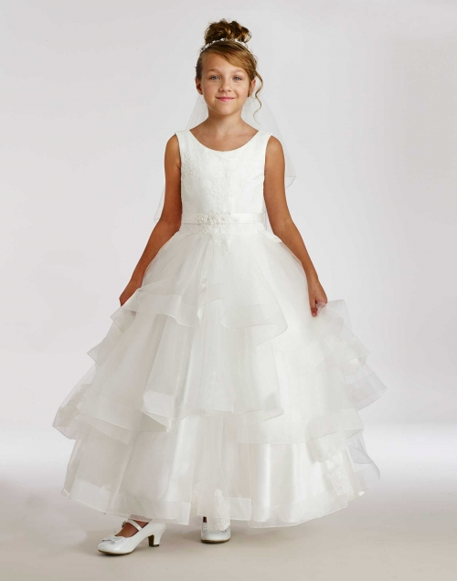 6054739bf1d MD 1868 - Macis Couture-Designer Girls Dress Style 1868- Sleeveless Dress  with Tiered Organza Skirt - Embroidered Dresses - Flower Girl Dresses -  Flower ...