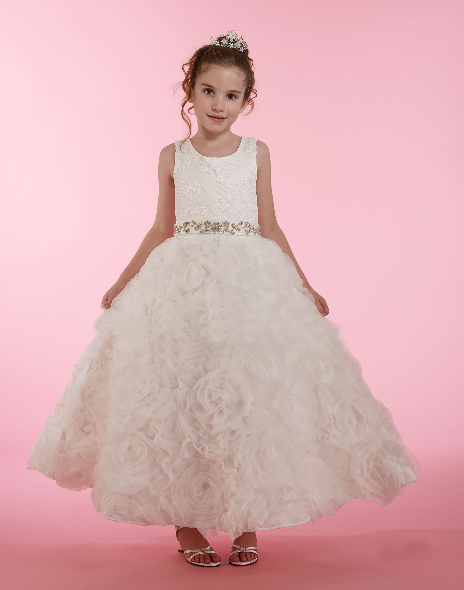 MD 1877 Couture Designer Girls Dress Style 1877 Embroidered Satin and Org