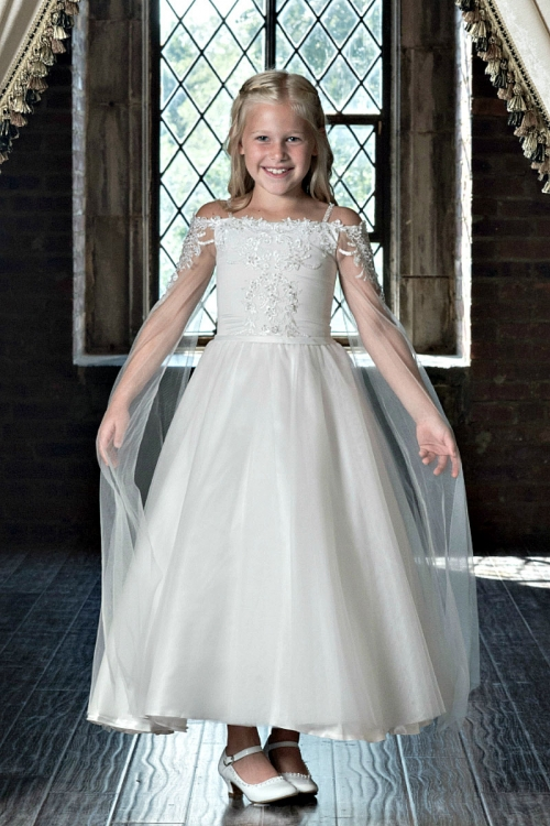 Couture Designer S Dress Style 1911 Satin Tulle With Juliet Sleeves In