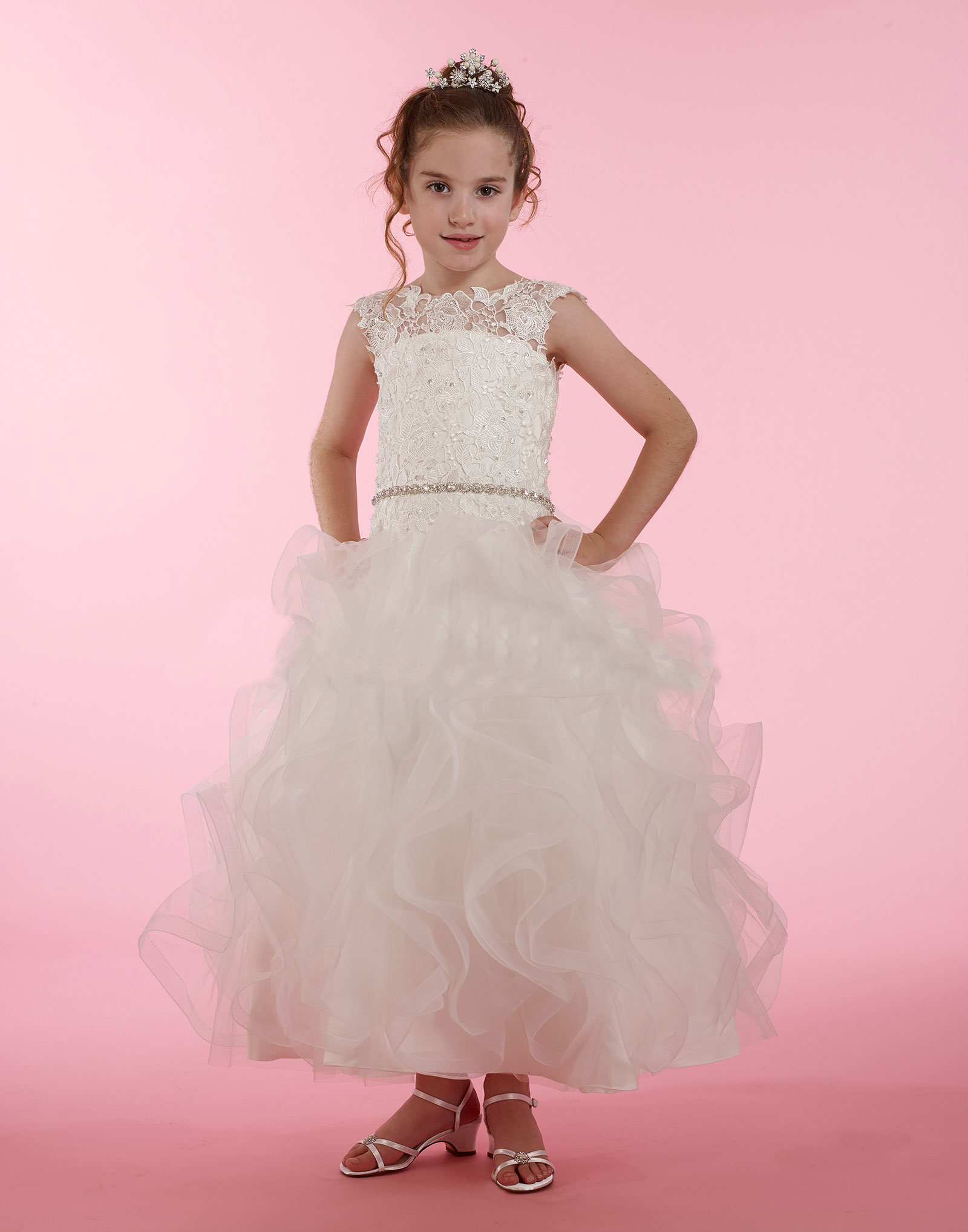 Md1990 Couture Designer Girls Dress Style 1990 Embroidered Lace