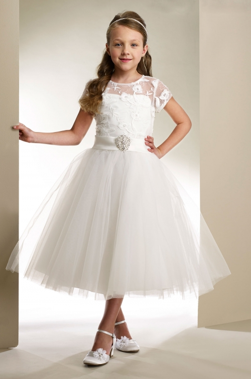 MD_T1861W - Couture-Designer Girls Dress Style T1861- Short Sleeve ...